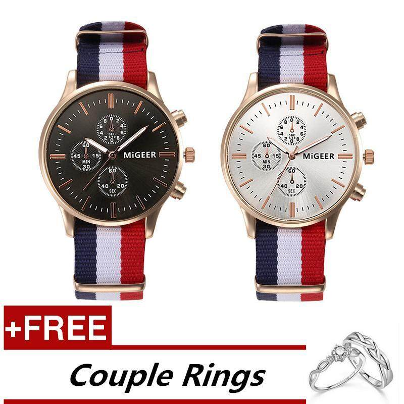 Fashion Couple Lover Men and Womens Watches Nylon Braid Striped Quartz Watches 0103 Black and White + Free Adjustable Lovers Rings (Buy 1 Get 1 Free) Malaysia