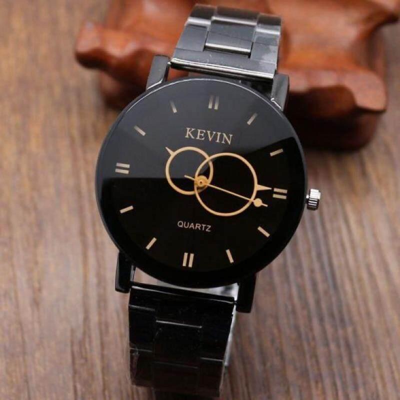 Fashion Design Black Stainless Steel Band Round Dial Quartz Wrist Watch Men Gift Black Malaysia