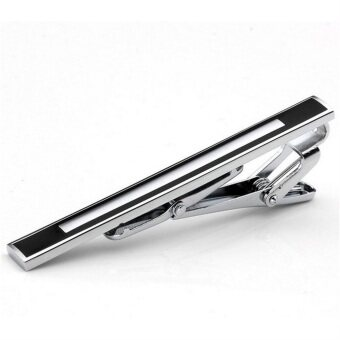 Fashion Gentleman Slim Collar black-Ended Stainless Steel Tie Clip silver silver