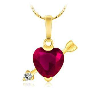 Fashion 24k Saudi Gold Crystal Heart Cupid's Arrow Love Pendant Necklace Jewellery Gift for Women Wedding