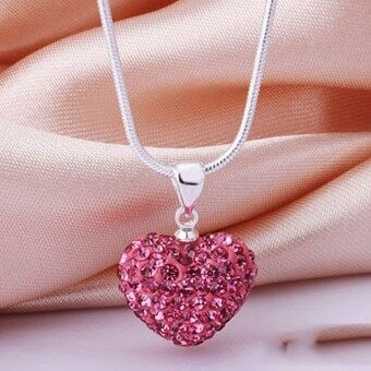 Harga Fashion Heart Crystal 925 Sterling Silver Snake Chain PendantNecklace Jewelry