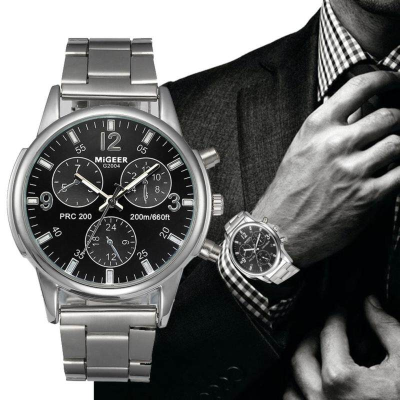 Fashion Men Crystal Stainless Steel Analog Quartz Wrist Watch Bracelet Malaysia