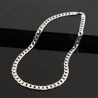 FASHION Men Jewelry 925 Silver Chain Necklace for Men 8MM 24 Inch - 4