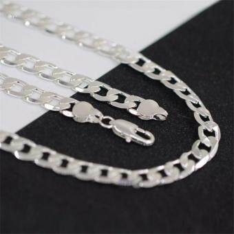 FASHION Men Jewelry 925 Silver Chain Necklace for Men 8MM 24 Inch - 2