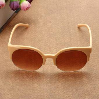 Fashion Plastic Trendy Hot Chic Half Frame Cat Eye RoundSunglasses(Not Specified) - 3