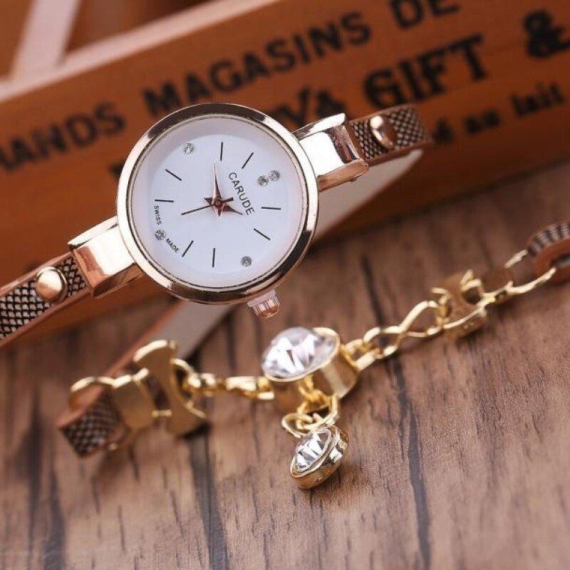 Fashion Womens Ladies Faux Leather Rhinestone Analog Quartz Dress Wrist Watches -Gray Malaysia