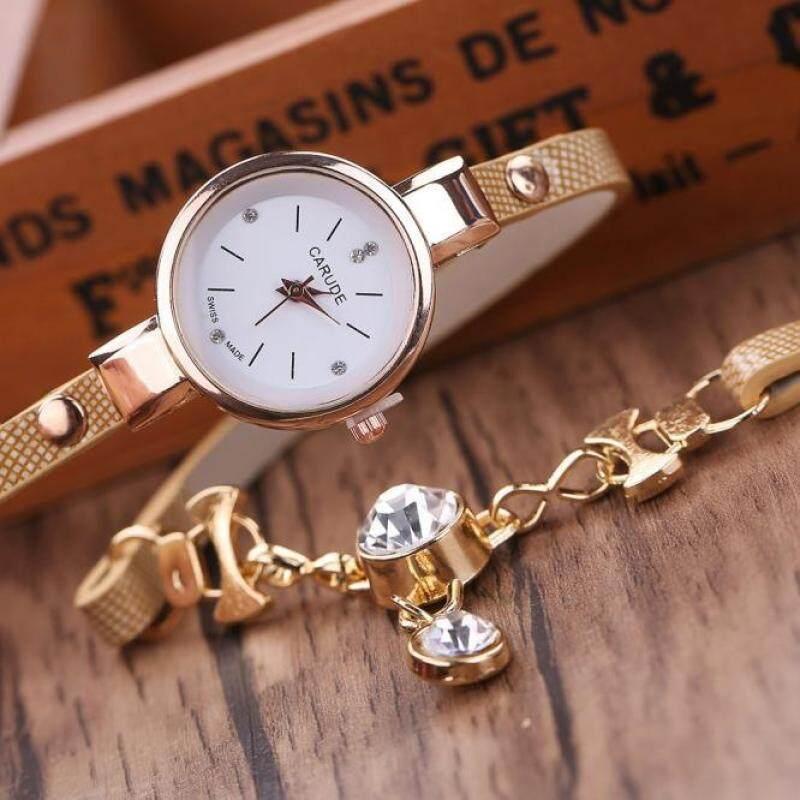 Fashion Womens Ladies Faux Leather Rhinestone Analog Quartz Dress Wrist Watches -Khaki Malaysia