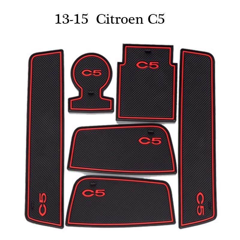 Untuk Citroen C5 2013-2015 Mobil Aksesoris Interior Gate Slot Alas Pintu Alas Karet Anti Selip Alas/ cangkir Bantalan-Internasional