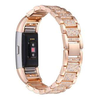Harga For Fitbit Charge 2,Replacement Metal Bands withRhinestoneAdjustable Fitbit Charge 2 Bands Bracelet Rose Gold