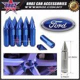 Broz Ford High Quality Aluminum Universal M12 x P1.5 Wheel Nut - Blue (20PCS)