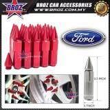 Broz Ford High Quality Aluminum Universal M12 x P1.5 Wheel Nut - Red (20PCS)