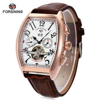 Forsining F201672801 Male Auto Mechanical Watch Tourbillon Date DayMonth Display Wristwatch