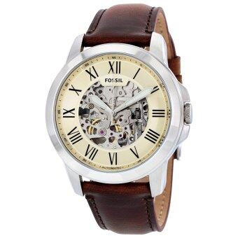 FOSSIL ME3099 Grant Automatic Beige Skeleton Dial Brown Leather Men's Watch