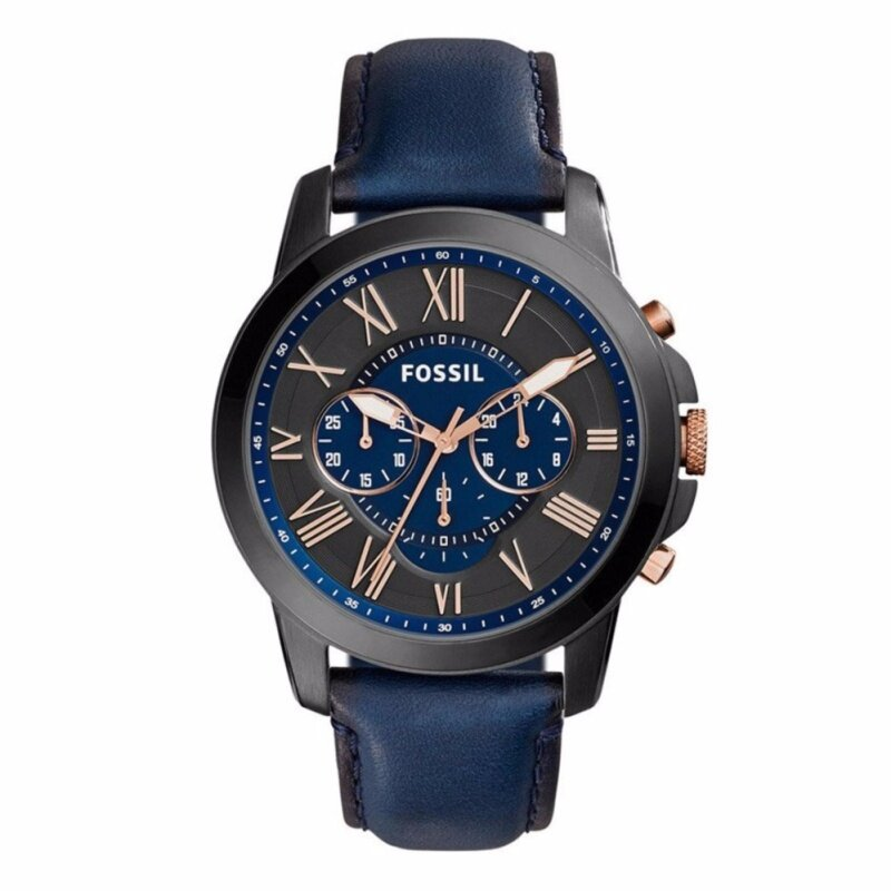 Fossil Men Grant Chronograph Navy Leather Watch FS5061 Malaysia