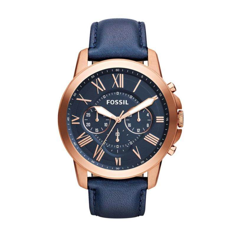 Fossil Mens Grant Chrono Navy Leather Watch FS4835 Malaysia