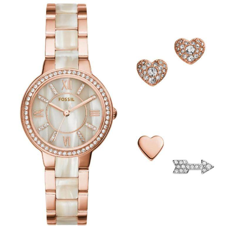 Fossil Women ES3965SET Virginia Rose-Tone Stainless Steel Watch & Earring Set (Rose Gold) Malaysia