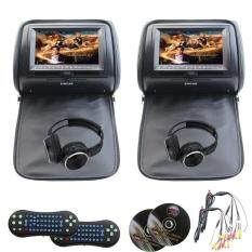 DUAL HEADREST DVD USB AUX SYSTEM WITH CORDLESS HEADPHONES AND DUAL REMOTES