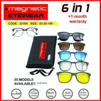 Features  free Gift  Magnetic Sunglasses Clip On 6 In 1 Frame 2218a ... 1fe22b217c