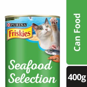 Harga FRISKIES(R) Seafood Selection Sardine, Shrimp & Squid Flavour Wet Cat Food Can (1 Can of 400g)