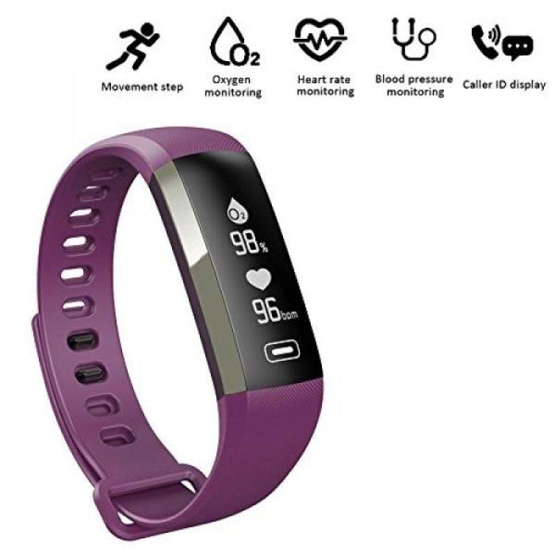 From USA Fitness tracker 0.96 inch OLED touchscreen Smartband Heart Rate Blood Oxygen Pressure Monitor Pedometer watch Smart bracelet WristBand with weather forecast function For IOS Android Phone (Purple) Malaysia