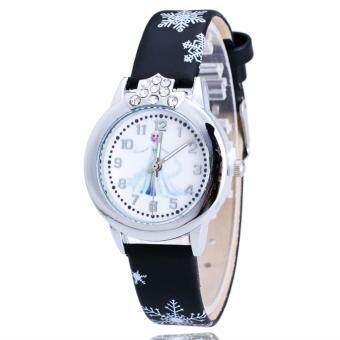 Harga Frozen Inspired Snow Queen Casual Leather Kid's Watch-Black