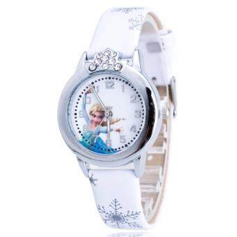 Harga Frozen Inspired Snow Queen Casual Leather Kid's Watch-White