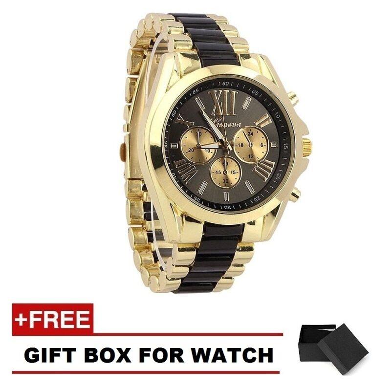 Geneva Classic 101 Luxury Men Stainless Steel Quartz Analog Wrist Watch- Black/Gold (Free Watch Box) Malaysia