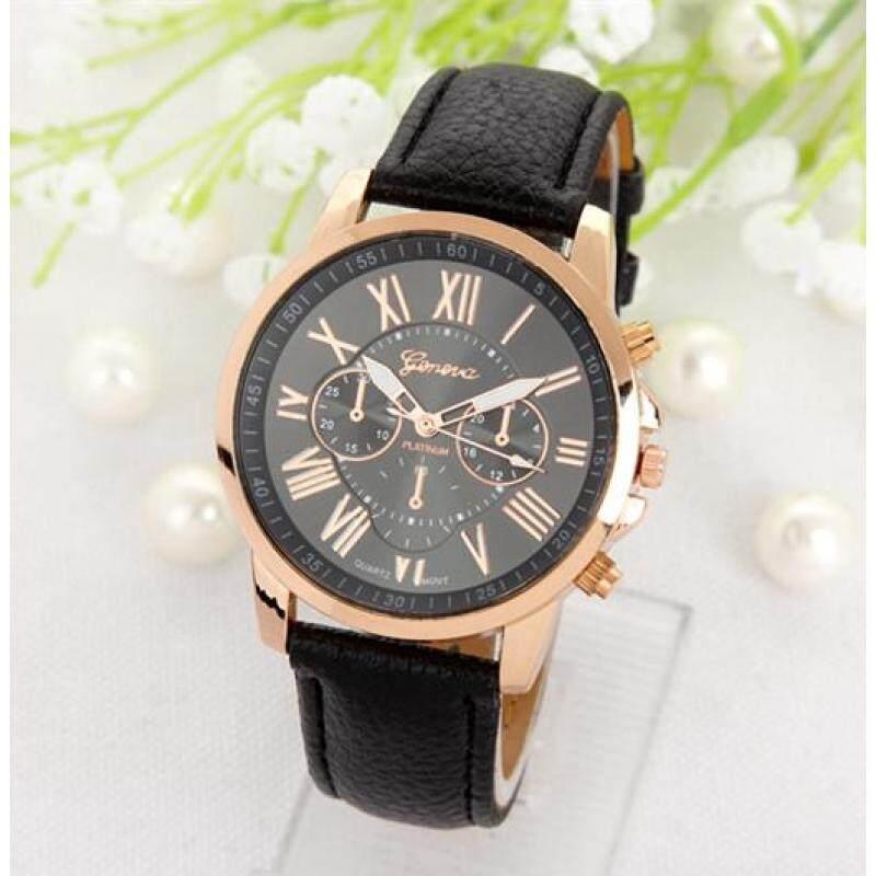 GENEVA Woman Doule Dials Roman Numerals Wristwatch Leather Quartz Women Watch Black Malaysia