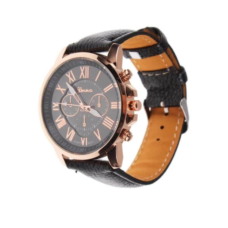 Geneva Womens Fashion Roman Numerals Faux Leather Analog Quartz Watch - Black Malaysia