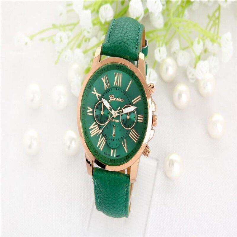 Geneva Womens Fashion Roman Numerals Faux Leather Analog Quartz Watch - Dark Green Malaysia