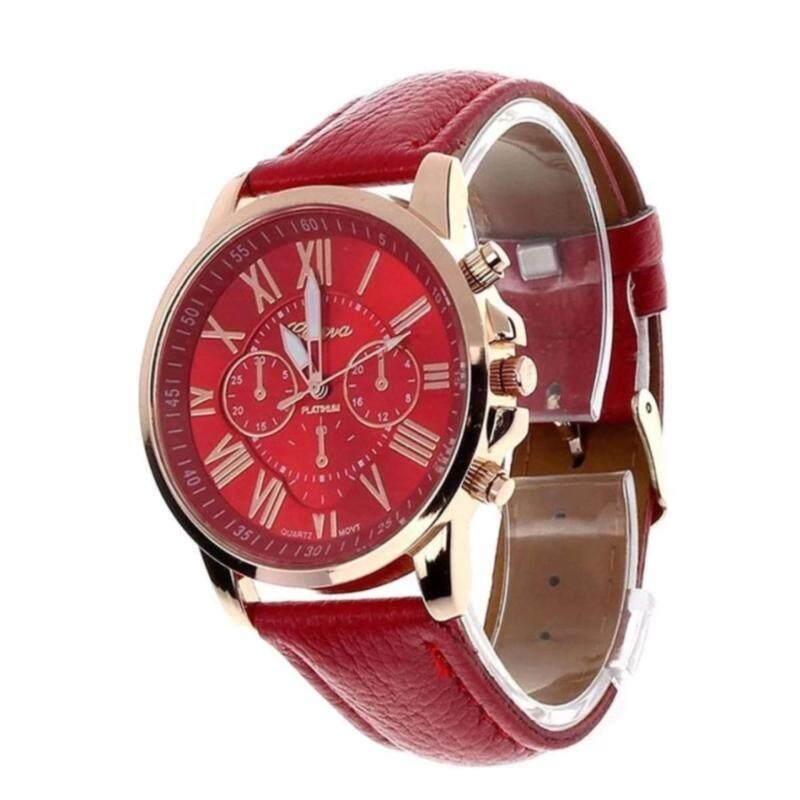 Geneva Womens Fashion Roman Numerals Faux Leather Analog Quartz Watch - Red Malaysia