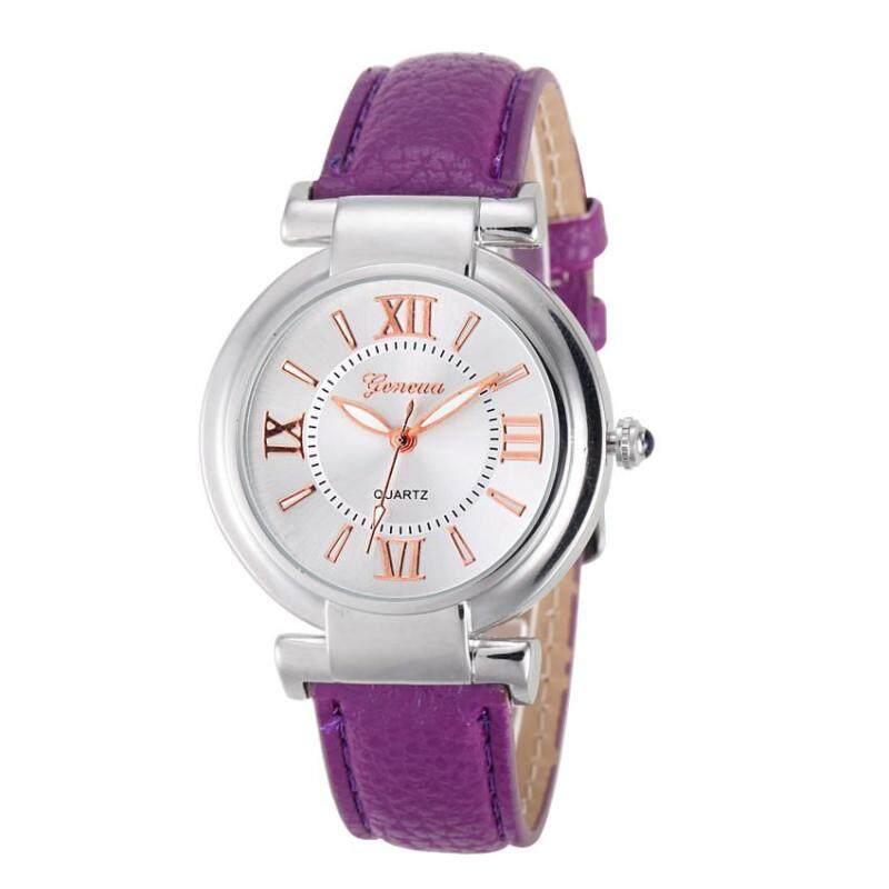 Geneva Womens Fashion Waterproof Quartz Watch Ladies Casual Leather Band Watch - Purple Malaysia