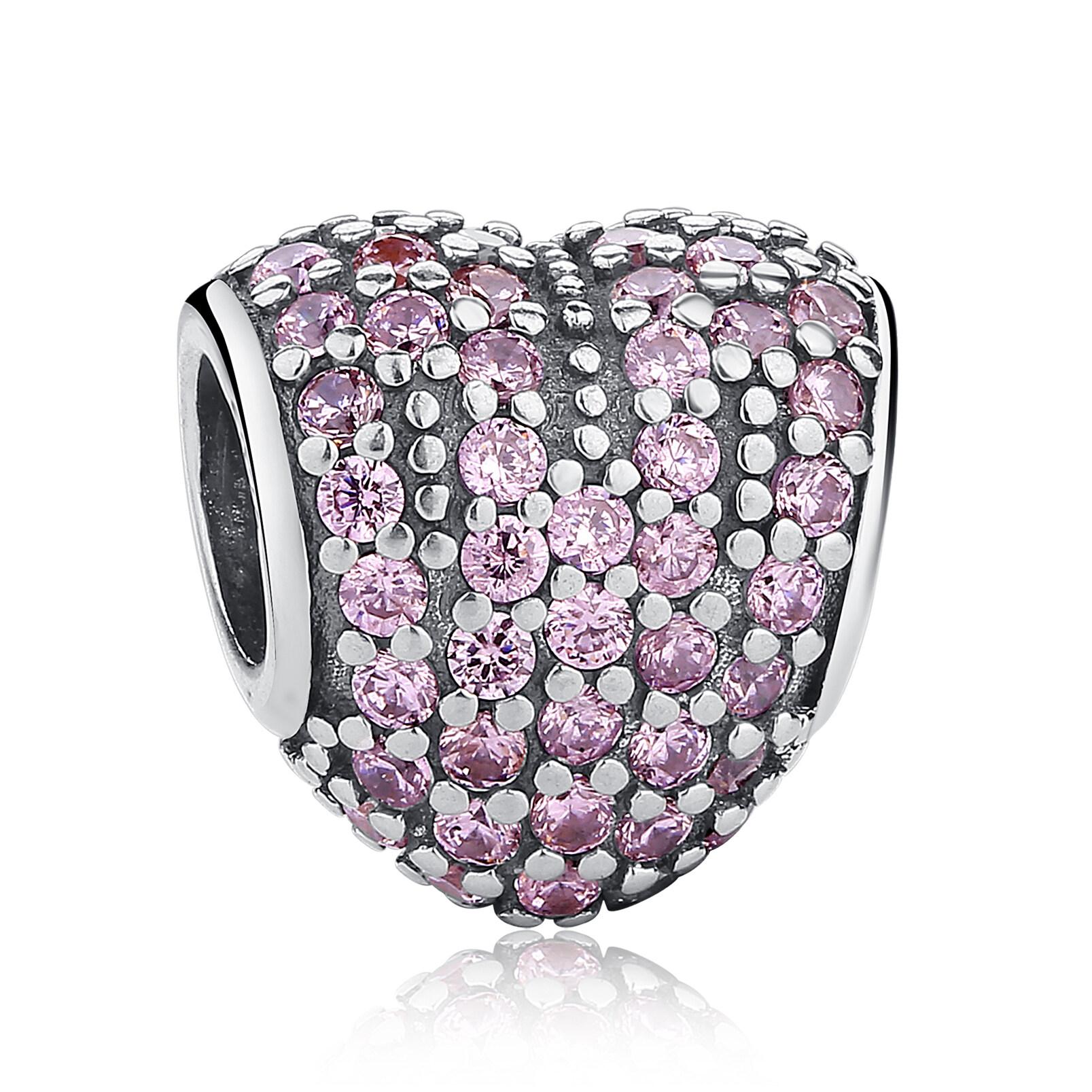 Jual Hadiah Untuk Kekasih Yang Mempesona 925 Sterling Silver Heart Shape Charm Fit Gelang Dengan Pink Cubic Zirkonia Perhiasan Membuat Pas055 Baru