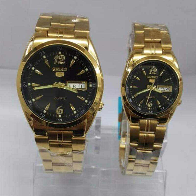 Gold bracelet Black Dial SEIKO Couple Watch Malaysia