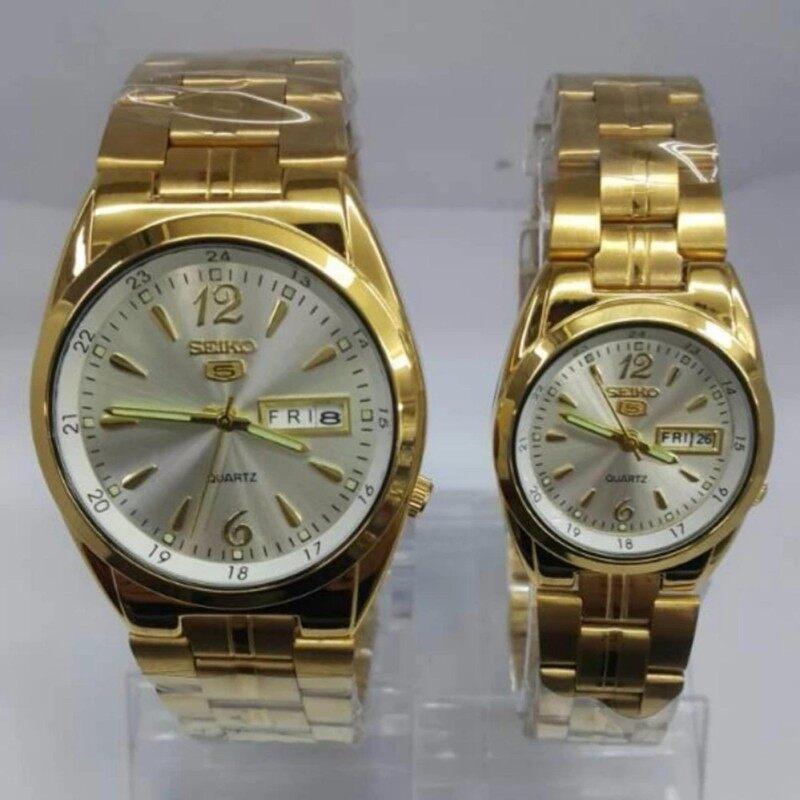 Gold bracelet White Dial SEIKO Couple Watch Malaysia
