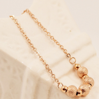 Harga Gold color matte round beads anklets
