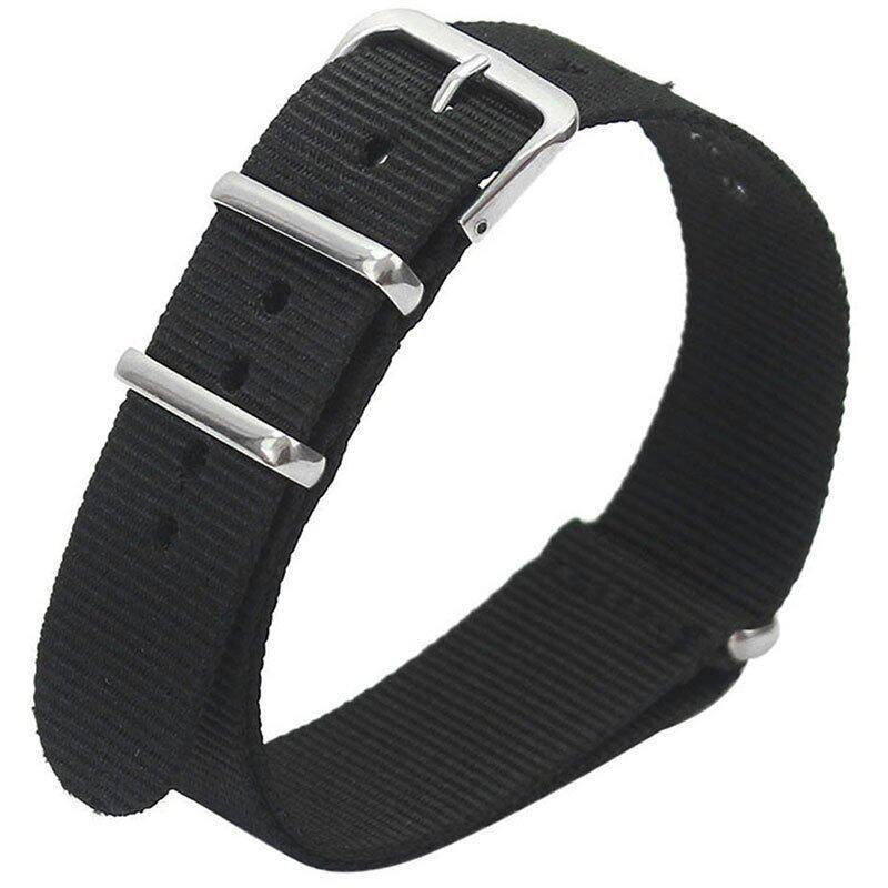 Gracefulvara Men Women Nylon Sport Wrist WatchBand Strap (Black) - 18mm Malaysia