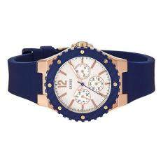 Guess Watch Overdrive Blue Stainless Steel Case Rubber Strap Ladies W0149L5 .
