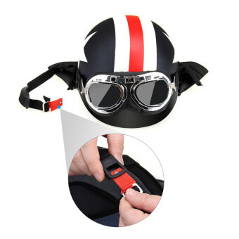 Harga Half Open Face Motorcycle Helmet with Goggles Visor Scarf BikerScooter Touring Helmet for Harley