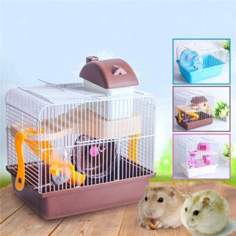 HAMSTER GERBIL MOUSE CAGE HOUSE 2 FLORR LEVEL WATER BOTTLE WHEEL SLIDE