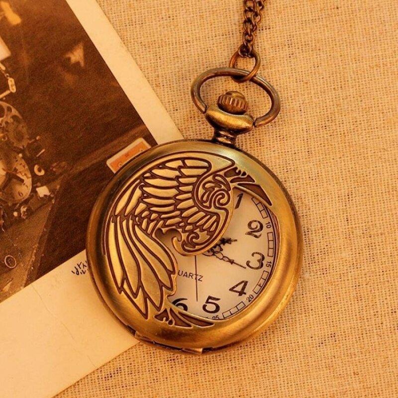 hatai Bronze Pocket Watch Necklace Quartz Pendant Vintage UnisexMen Women With Long Chain New Arrival (bronze) Malaysia