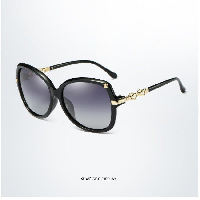 Hdcrafter Wanita Terpolarisasi Kacamata Hitam Retro Besar Sepanjang Kacamata Hitam Wanita Cermin UV400 Merek Desain Berjemur Kacamata dengan Mutiara LH034 Mac XS11287 -Internasional