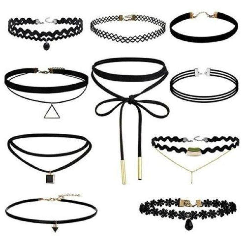 Lvzhi Charm 10Pcs/Set Gothic Punk Velvet Lace Choker Bead Pendantnecklace Jewelry Collar Chocker Necklaces(One Size) - intl