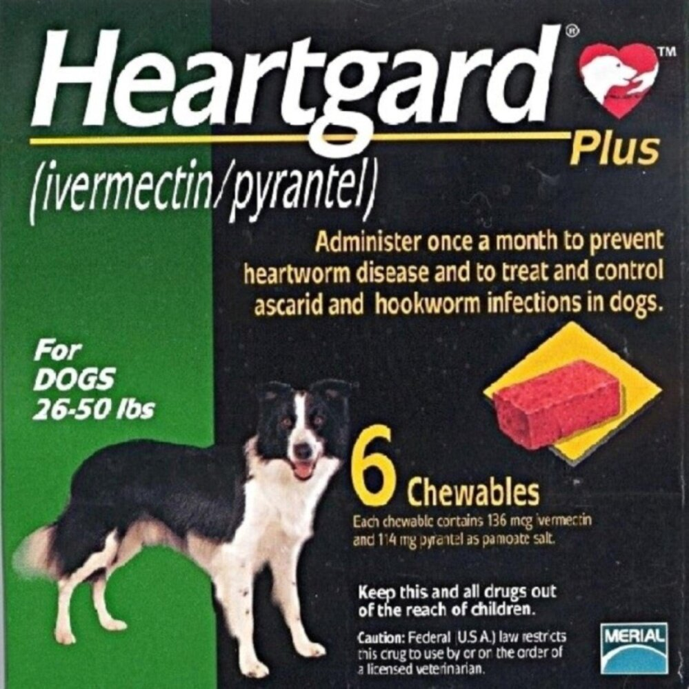 Heartgard Plus Chewables (Green) 26-50 lbs