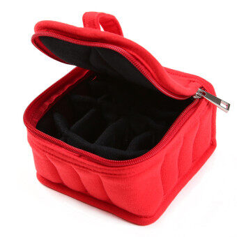 HengSong Portable 16 Bottles Essential Oil Bag Carrying Case DoubleZipper Travel Makeup Cosmetic Bag Red - 5