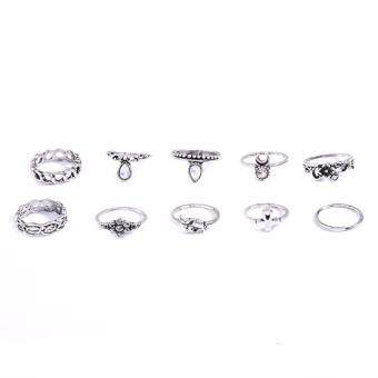 Harga Hequ 10pcs set New Fashion European and American trade exaggeratedretro ring ten sets of small Gold