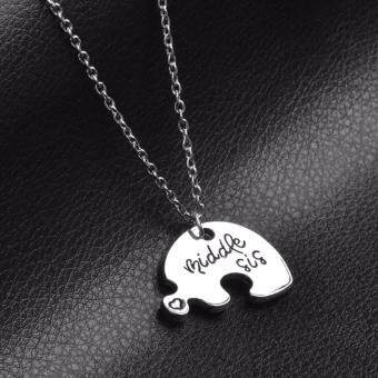 ... Hequ 3 Piece Heart Personalized Hand Stamped big sis middle sislittle sis 3 Sister Necklace Family ...