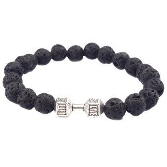 Harga Hequ Hot Sale Novelty Style Jewelry Natural Lava Energy LavaBracelet Fashion Beaded Metal Dumbbell Bracelet Silver