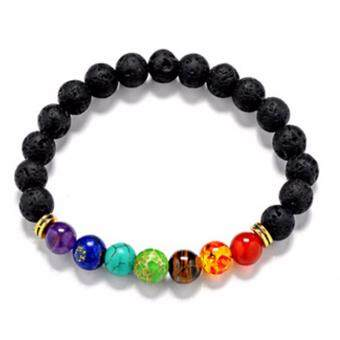 Harga Hequ Joyme 7 Chakra Bracelet For Men Women Black Lava HealingBalance Beads Reiki Prayer Natural Stone