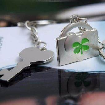 Hequ K038 Fashion and lovely lucky clover couple keychains smallgifts key chain hanging lovers - 2